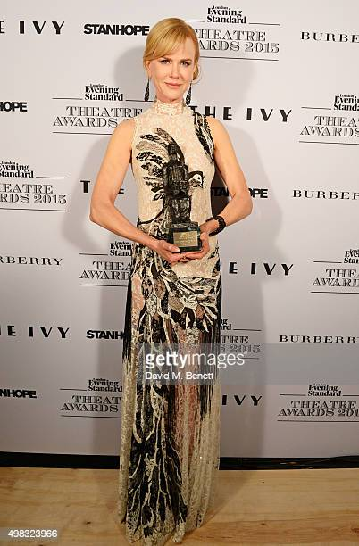 Nicole Kidman winner of Best Actress for 'Photograph 51' poses in front of the Winners Boards at The London Evening Standard Theatre Awards in...