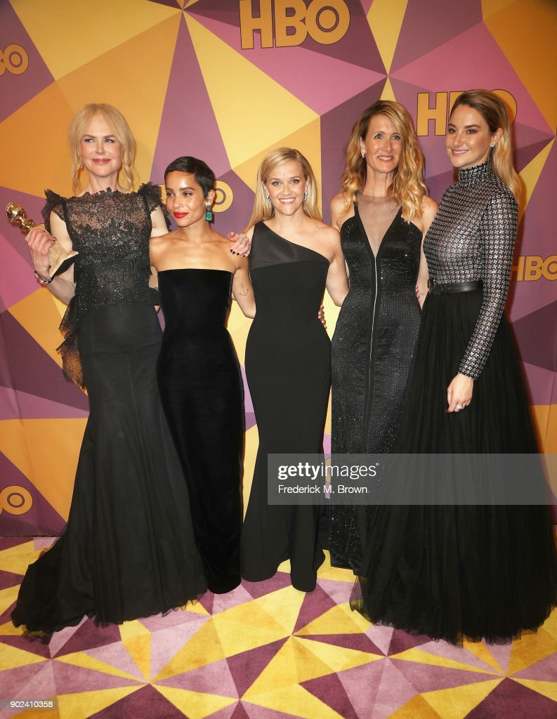 Nicole Kidman, Zoe Kravitz, Reese Witherspoon, Laura Dern and Shailene Woodley of 'Big Little Lies' attend HBO's Official Golden Globe Awards After Party at Circa 55 Restaurant on January 7, 2018 in Los Angeles, California.