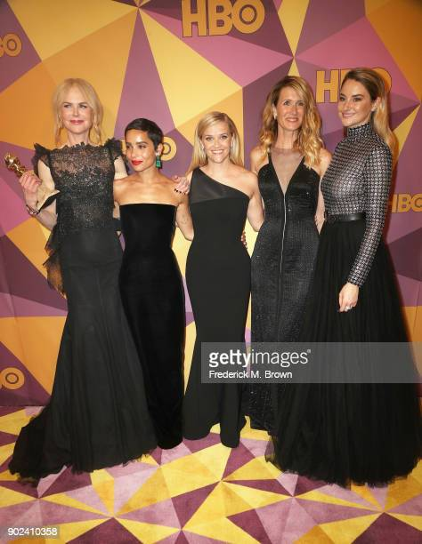 Nicole Kidman Zoe Kravitz Reese Witherspoon Laura Dern and Shailene Woodley of 'Big Little Lies' attend HBO's Official Golden Globe Awards After...