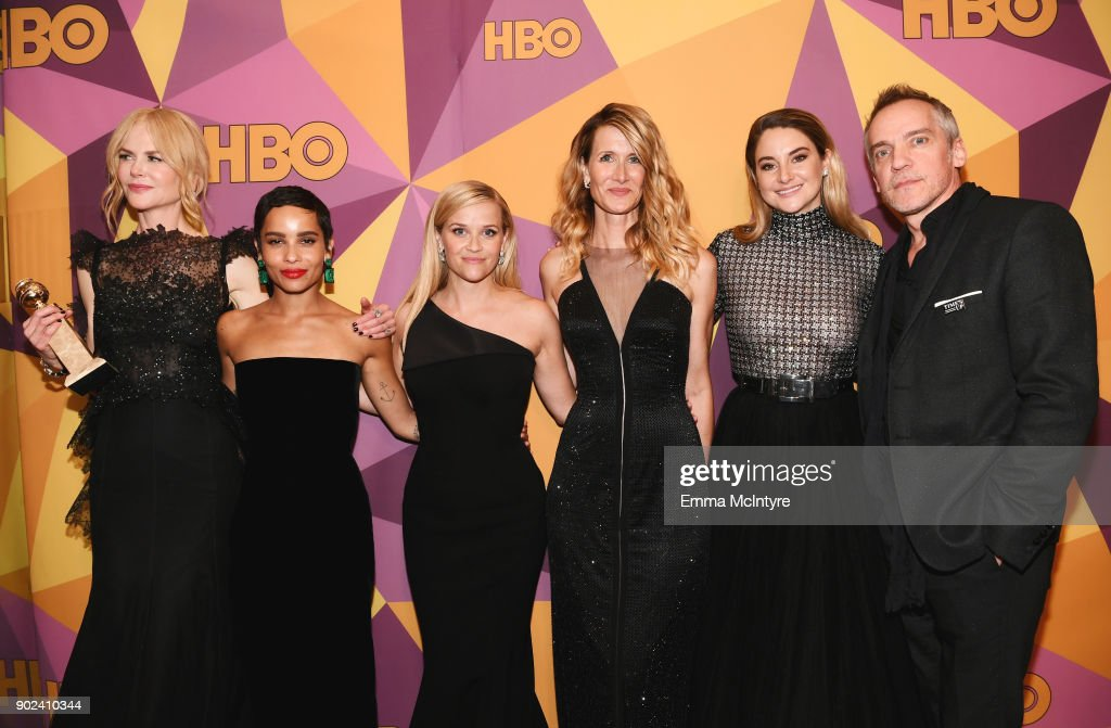 Nicole Kidman, Zoe Kravitz, Reese Witherspoon, Laura Dern, Shailene Woodley and Jean-Marc Vallee of 'Big Little Lies' attend HBO's Official Golden Globe Awards After Party at Circa 55 Restaurant on January 7, 2018 in Los Angeles, California.