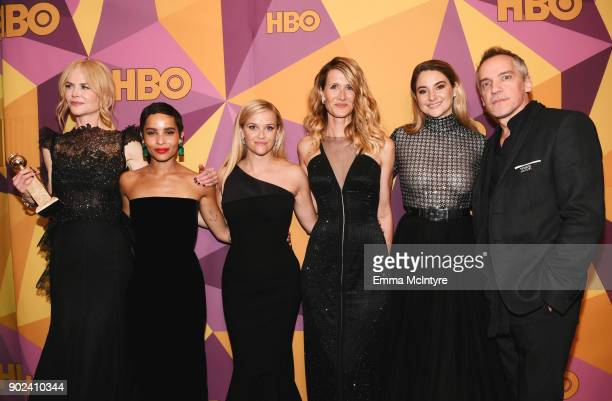 Nicole Kidman Zoe Kravitz Reese Witherspoon Laura Dern Shailene Woodley and JeanMarc Vallee of 'Big Little Lies' attend HBO's Official Golden Globe...
