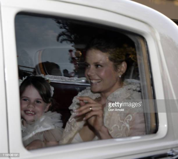 Nicole Kidman's sister Antonia Kidman and a flowergirl on route to the ceremony outside her Darling Point home on June 25 2006