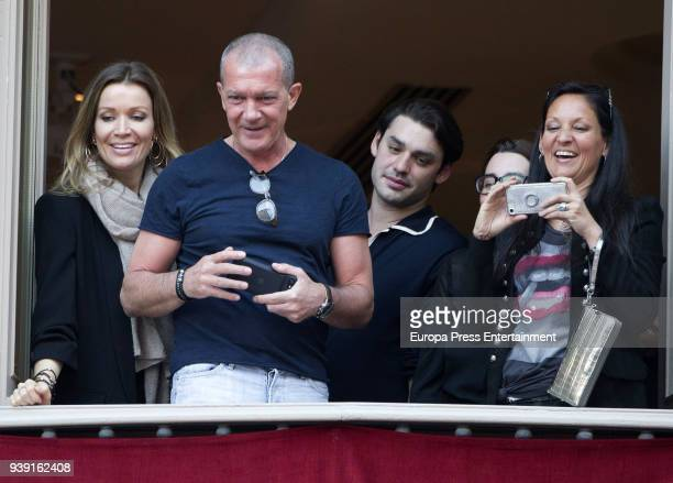 Nicole Kimpel Alex Rich Antonio Banderas attend a procession during Holy Week celebration on March 27 2018 in Malaga Spain