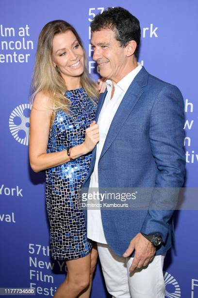 "Nicole Kimpel and actor Antonio Banderas attend the ""Pain And Glory"" premiere during the 57th New York Film Festival at Alice Tully Hall, Lincoln..."