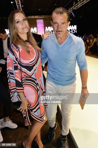 Nicole Kimpel and Antonio Banderas are seen at the Shantall Lacayo Show during Miami Fashion Week at Ice Palace Film Studios on June 2 2017 in Miami...