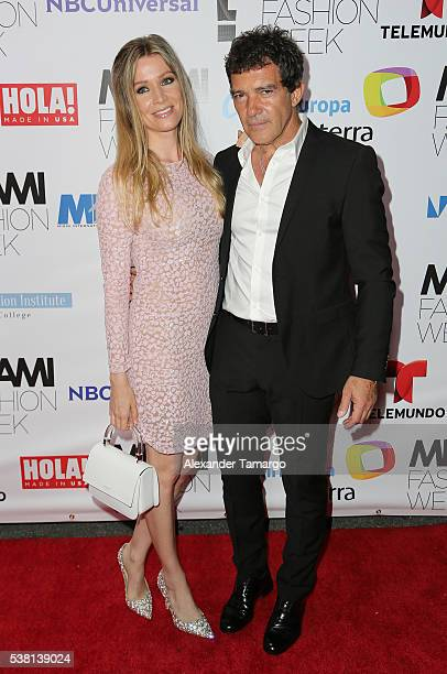 Nicole Kimpel and Antonio Banderas arrive for the Miami Fashion Week Soiree at Vizcaya Museum Gardens on June 4 2016 in Miami Florida