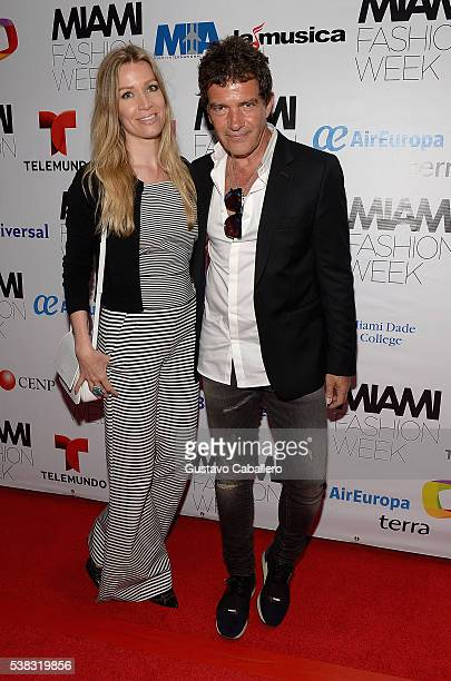Nicole Kimpel and Antonio Banderas attend Miami Fashion Week closing night party at New World Center on June 5, 2016 in Miami Beach, Florida.