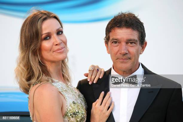 Nicole Kimpel and Antonio Banderas attend Starlite Gala on August 13, 2017 in Marbella, Spain.