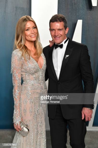 Nicole Kimpel and Antonio Banderas attend the 2020 Vanity Fair Oscar party hosted by Radhika Jones at Wallis Annenberg Center for the Performing Arts...