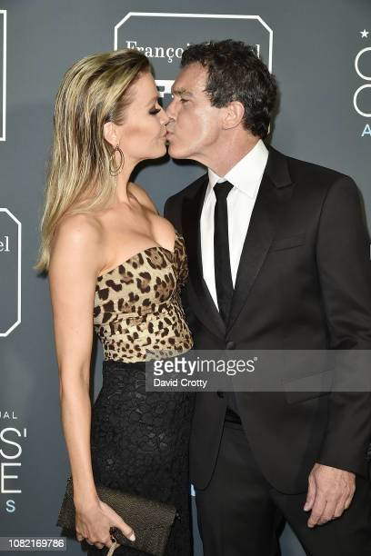 Nicole Kimpel and Antonio Banderas attend the 24th Annual Critics' Choice Awards Arrivals at Barker Hangar on January 13 2019 in Santa Monica...