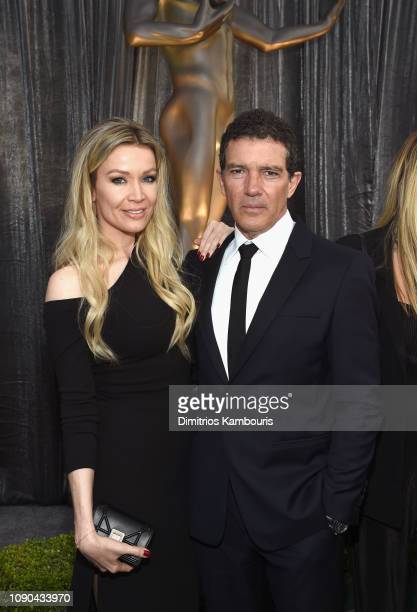 Nicole Kimpel and Antonio Banderas attend the 25th Annual Screen Actors Guild Awards at The Shrine Auditorium on January 27, 2019 in Los Angeles,...