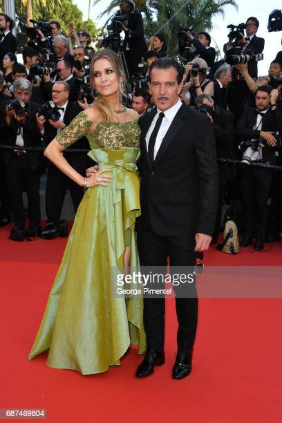 Nicole Kimpel and Antonio Banderas attend the 70th Anniversary screening during the 70th annual Cannes Film Festival at Palais des Festivals on May...