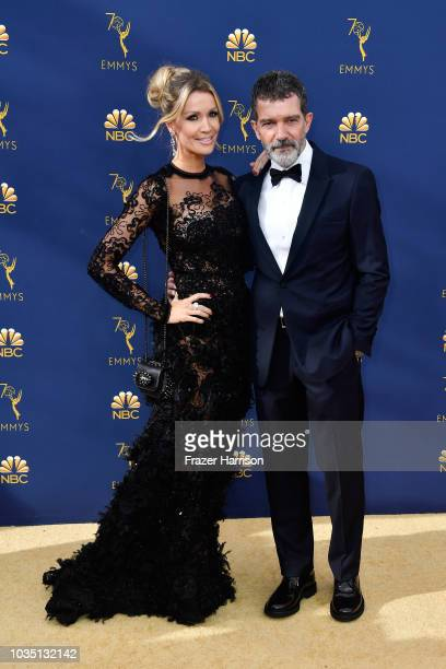 Nicole Kimpel and Antonio Banderas attend the 70th Emmy Awards at Microsoft Theater on September 17 2018 in Los Angeles California