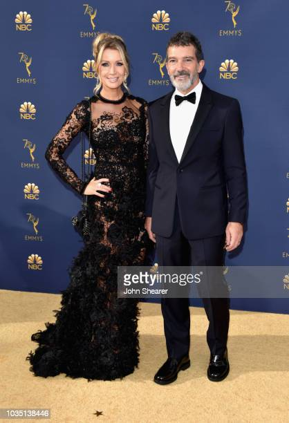 Nicole Kimpel and Antonio Banderas attend the 70th Emmy Awards at Microsoft Theater on September 17, 2018 in Los Angeles, California.