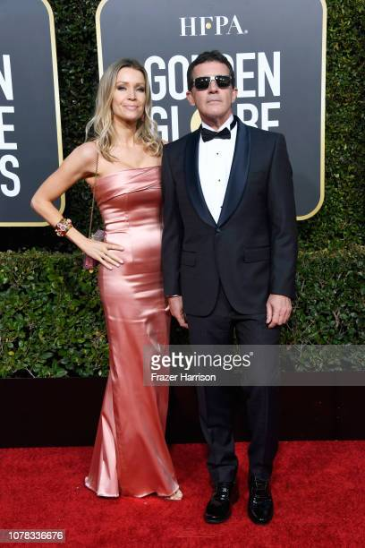 Nicole Kimpel and Antonio Banderas attend the 76th Annual Golden Globe Awards at The Beverly Hilton Hotel on January 6 2019 in Beverly Hills...