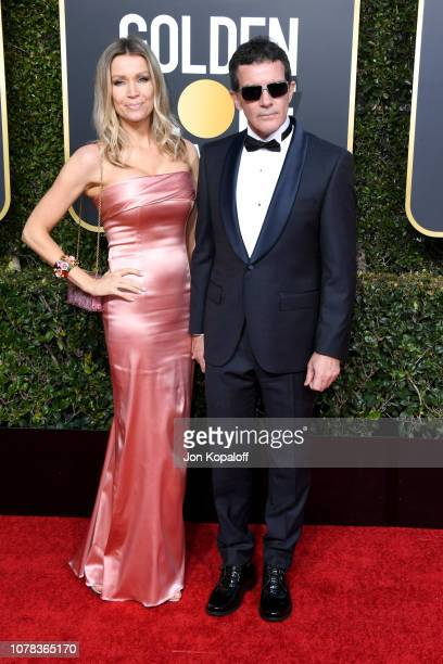 Nicole Kimpel and Antonio Banderas attend the 76th Annual Golden Globe Awards at The Beverly Hilton Hotel on January 6, 2019 in Beverly Hills,...