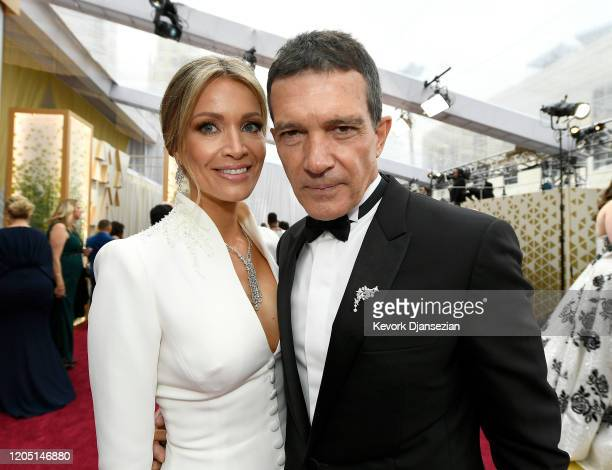 Nicole Kimpel and Antonio Banderas attend the 92nd Annual Academy Awards at Hollywood and Highland on February 09, 2020 in Hollywood, California.