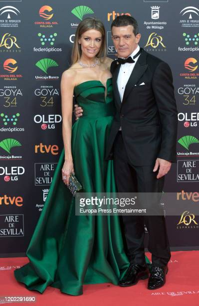 Nicole Kimpel and Antonio Banderas attend the Goya Cinema Awards 2020 during the 34th edition of the Goya Cinema Awards at Jose Maria Martin Carpena...