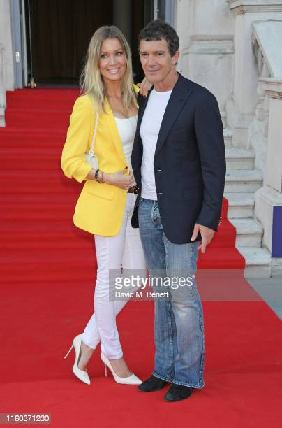 Nicole Kimpel and Antonio Banderas attend the opening night of Film4 Summer Screen at Somerset House featuring the UK Premiere of Pain And Glory on...