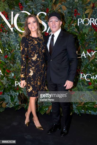 Nicole Kimpel and Antonio Banderas attend the opening of the new Porcelanosa store on December 21 2017 in Malaga Spain