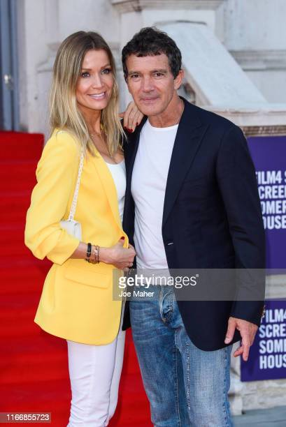Nicole Kimpel and Antonio Banderas attend the Pain And Glory UK Premiere and opening gala of Film4 Summer Screen at Somerset House on August 08 2019...