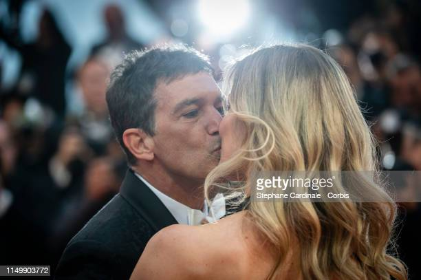 "Nicole Kimpel and Antonio Banderas attend the screening of ""Pain And Glory "" during the 72nd annual Cannes Film Festival on May 17, 2019 in Cannes,..."