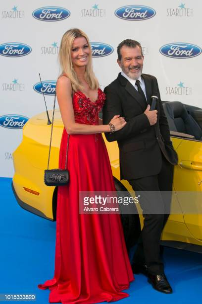 Nicole Kimpel and Antonio Banderas attend the Starlite Gala on August 11, 2018 in Marbella, Spain.