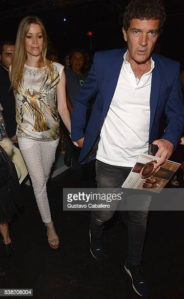 Nicole Kimpel and Antonio Banderas attends the Miami Fashion Week Day 3 Front Row And Backstage Highlights fron row during the show at Miami Fashion...