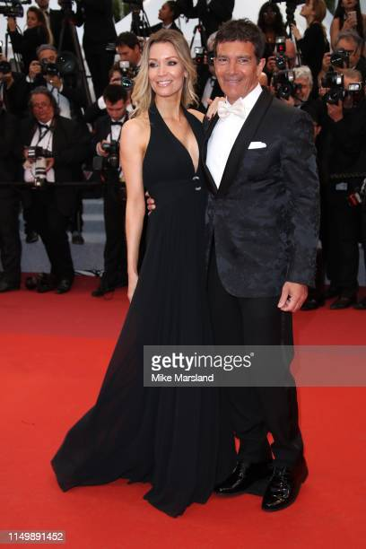 "Nicole Kimpel and Antonio Banderas attends the screening of ""Pain And Glory "" during the 72nd annual Cannes Film Festival on May 17, 2019 in Cannes,..."