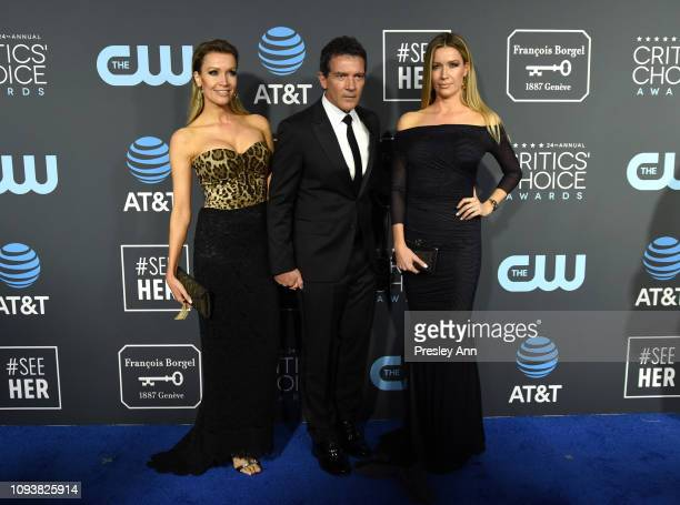 Nicole Kimpel, Antonio Banderas and Barbara Kimpel at The 24th Annual Critics' Choice Awards at Barker Hangar on January 13, 2019 in Santa Monica,...