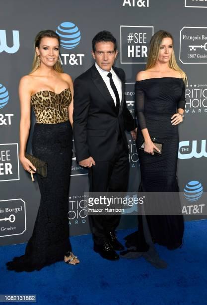 Nicole Kimpel Antonio Banderas and Barbara Kimpel attend the 24th annual Critics' Choice Awards at Barker Hangar on January 13 2019 in Santa Monica...