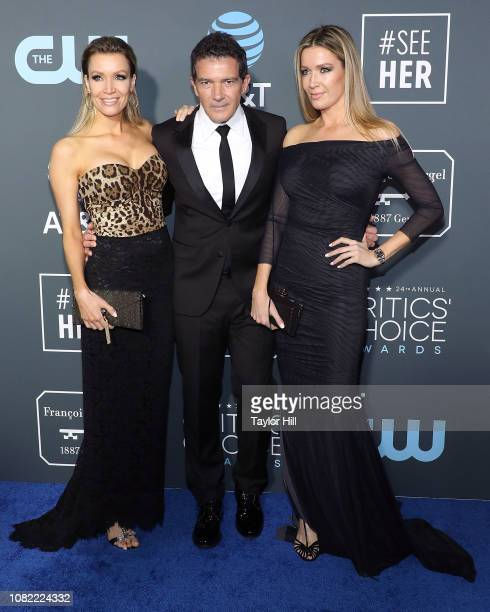 Nicole Kimpel Antonio Banderas and Barbara Kimpel attend The 24th Annual Critics' Choice Awards at Barker Hangar on January 13 2019 in Santa Monica...