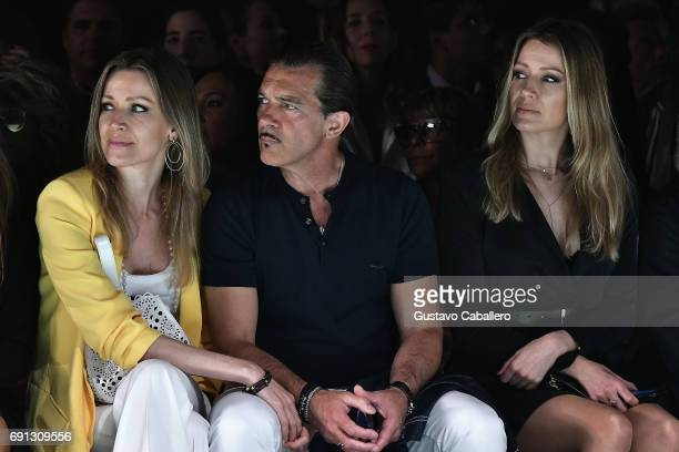Nicole Kimpel Antonio Banderas and Barbara Kimpel seen front row at the Silvia Tcherassi Show during Miami Fashion Week at Ice Palace Film Studios on...