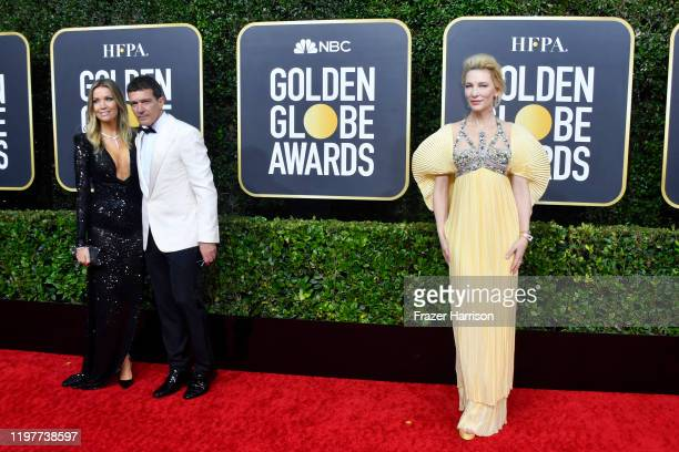 Nicole Kimpel Antonio Banderas and Cate Blanchett attend the 77th Annual Golden Globe Awards at The Beverly Hilton Hotel on January 05 2020 in...