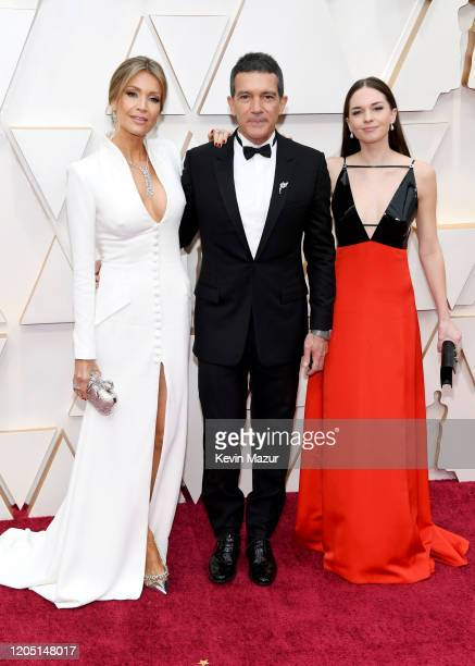 Nicole Kimpel Antonio Banderas and Stella Banderas attend the 92nd Annual Academy Awards at Hollywood and Highland on February 09 2020 in Hollywood...