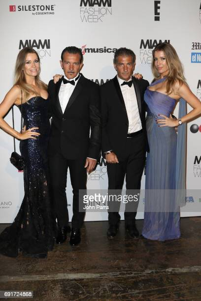Nicole Kimpel Antonio Banderas Barbara Kimpel and guest attend the Custo Barcelona Runway Show during Miami Fashion Week at Ice Palace Film Studios...