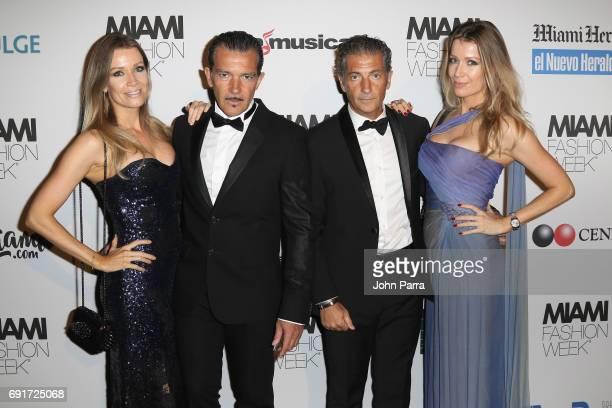 Nicole Kimpel Antonio Banderas Barbara Kimpel and guest attend the Custo Barcelona Runway Show during Miami Fashion Week at Ice Palace Film Studios...