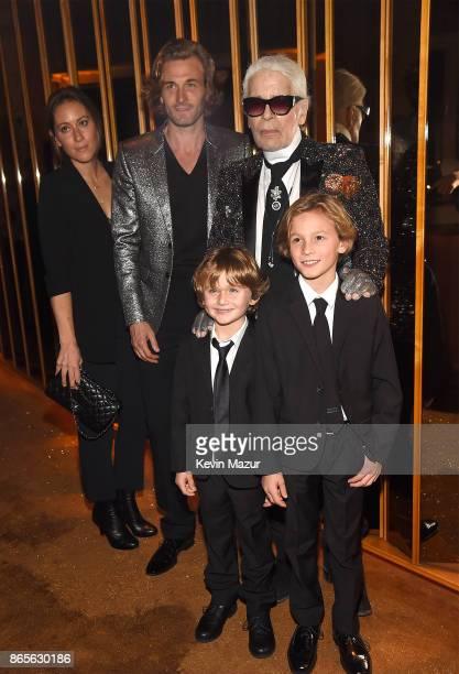 Nicole Kroenig Brad Kroenig Karl Lagerfeld Hudson Kroenig and Jameson Kroenig attend V Magazine's intimate dinner in honor of Karl Lagerfeld at The...