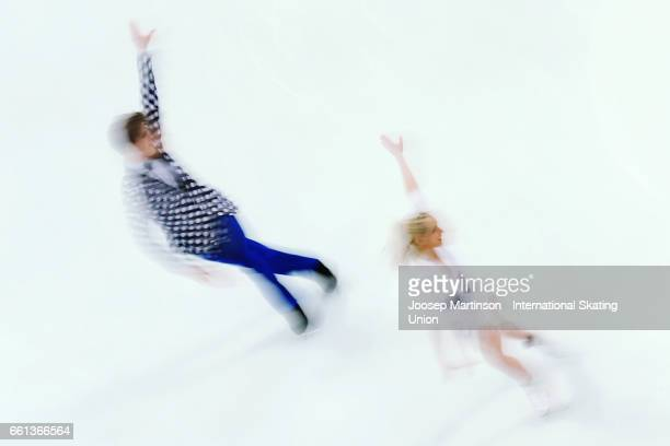 Nicole Kuzmichova and Alexandr Sinicyn of Czech Republic compete in the Ice Dance Short Dance during day three of the World Figure Skating...