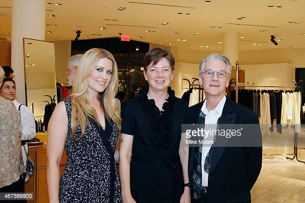 Nicole Lazaroff Dennita Sewell and John Stevens pose during the Barneys New York And Renee Parsons Invite You To Support Free Arts on October 16 2014...