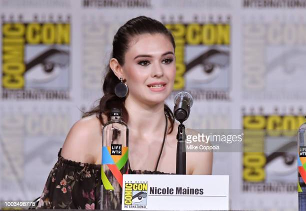 Nicole Maines speaks onstage at the Supergirl Special Video Presentation and QA during ComicCon International 2018 at San Diego Convention Center on...
