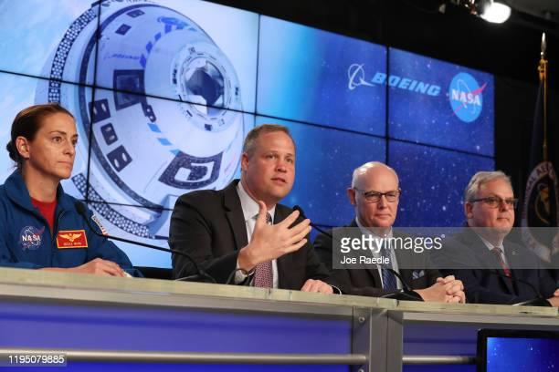 Nicole Mann, NASA astronaut, Jim Bridenstine, NASA Administrator, Tory Bruno, President and CEO, United Launch Alliance,Jim Chilton, Boeing senior...