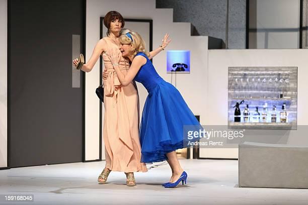 Nicole Marischka and Maria Furtwaengler perform during the 'GeruechteGeruechte' photo rehearsal at Komoedie am Kurfuerstendamm Theater on January 9...