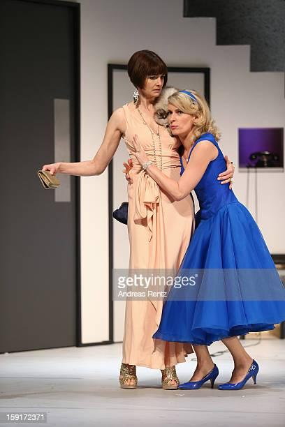 Nicole Marischka and Maria Furtwaengler perform during the 'Geruechte...Geruechte...' photo rehearsal at Komoedie am Kurfuerstendamm Theater on...