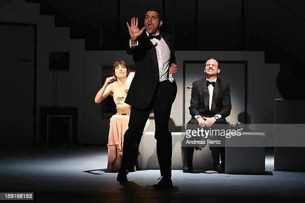 Nicole Marischka Pasquale Aleardi and Urs Staempfli perform during the 'GeruechteGeruechte' photo rehearsal at Komoedie am Kurfuerstendamm Theater on...
