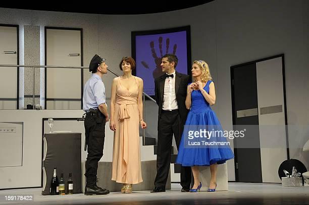 Nicole Marischka;Pasquale Aleardi and Maria Furtwaengler performs during the 'Geruechte...Geruechte...' photo rehearsal at Komoedie am...