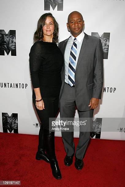 Nicole Marsalis and Branford Marsalis attend The Mountaintop Broadway opening night at The Bernard B Jacobs Theatre on October 13 2011 in New York...