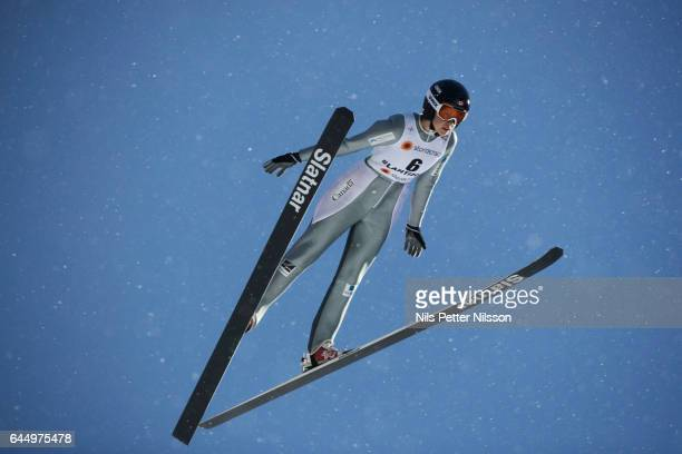 Nicole Maurer of Canada during the women's ski jumping HS100 during the FIS Nordic World Ski Championships on February 24 2017 in Lahti Finland