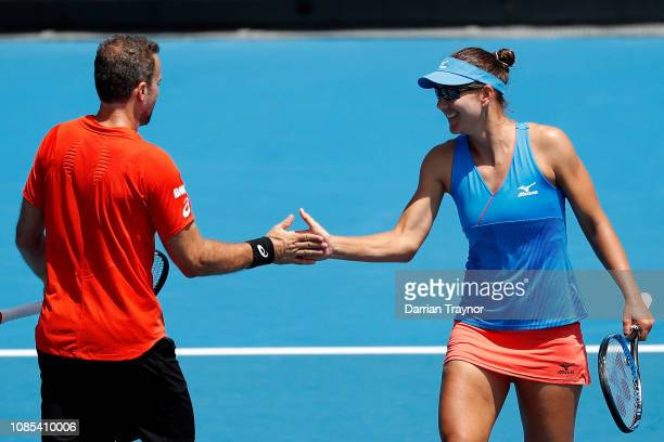 Nicole Melichar of the United States and Bruno Soares of Brazil compete in their first round mixed doubles against IrinaCamelia Begu and Horia Tecau...