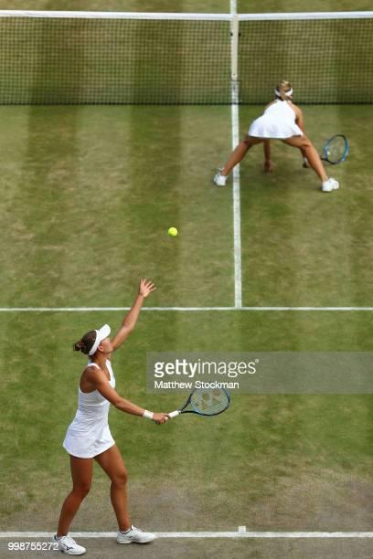 Nicole Melichar of The United States and Kveta Peschke of Czech Republic in action against Barbora Krejcikova and Katerina Siniakova of Czech...